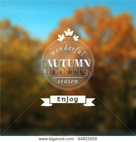 Poster with autumn landscape.