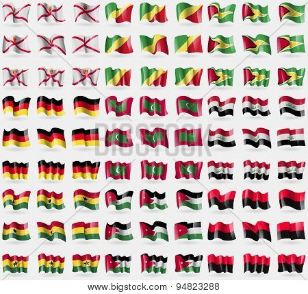 Jersey, Congo, Republic, Guyana, Germany, Maldives, Iraq, Ghana, Jordan, Upa. Big Set Of 81 Flags. V
