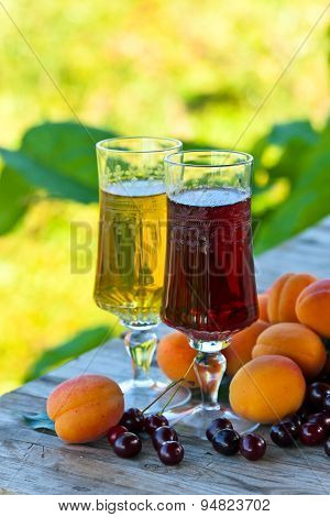 Sweet Wine With Apricots And Cherries