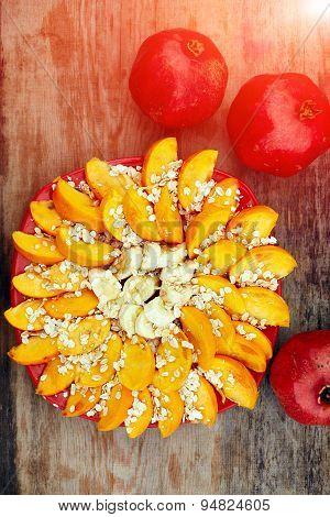 Sliced fruits arrangement