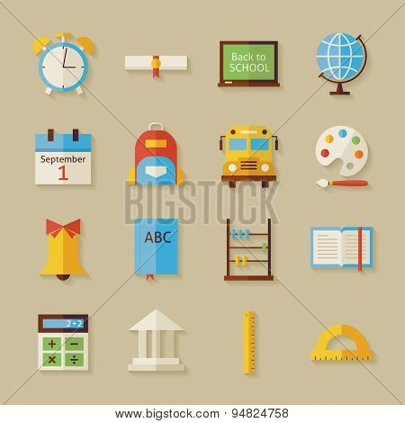 Flat Back To School Objects Set With Shadow