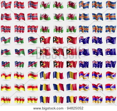 Norway, Wales, Aland, Namibia, East Timor, Australia, North Ossetia, Romania, Karabakh Republic. Big