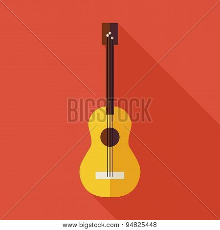 Flat Music String Guitar Illustration With Long Shadow