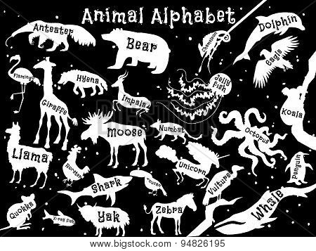 Animal alphabet poster for children. Animals silhouettes with names and letters inside. Poster conce