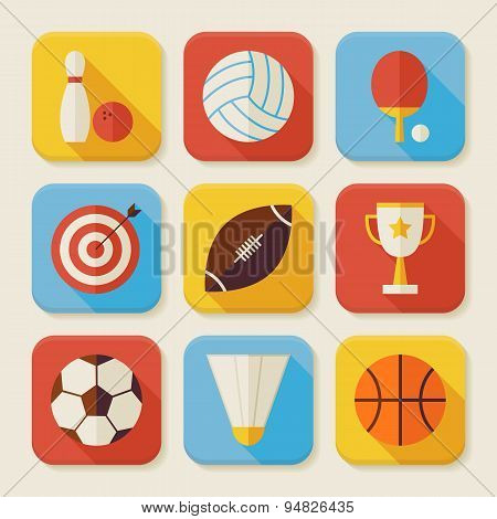 Flat Sport And Activities Squared App Icons Set