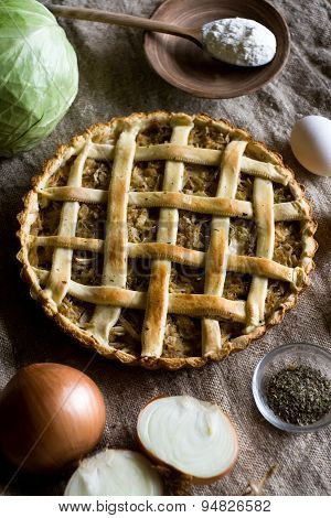 Traditional Rustic Vegetarian Pie With Cabbage And Onions