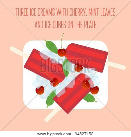 Ice creams (popsicles) with cherry and ice cubes