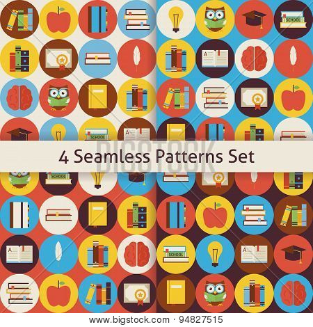 Four Vector Flat Seamless Reading Book And Knowledge Patterns Set With Colorful Circles