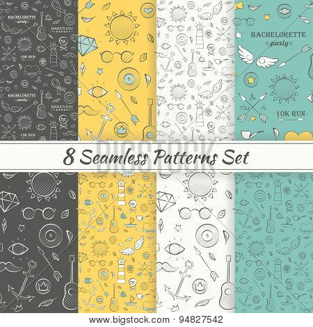 Patterns Sea Summer Hipster Hand Drawn Seamless Patterns Set