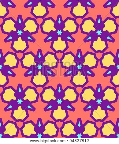 Pink Yellow Purple Blue Abstract Geometric Seamless Pattern.