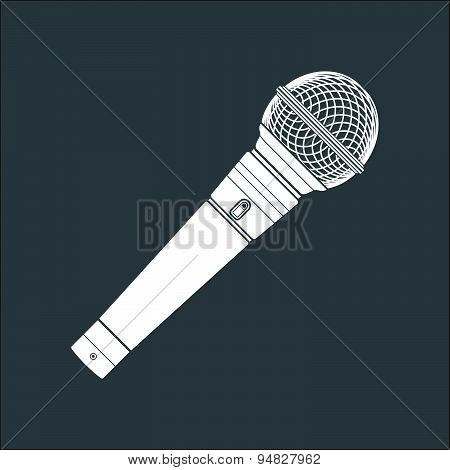 Solid Color Stage Microphone Device Illustration.