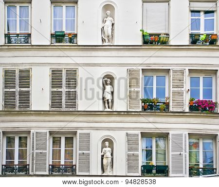 The Facade Of A House In Montmartre