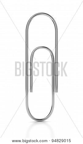 Metal Paper Clip On White