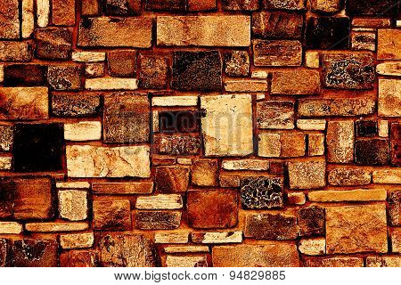 yellow background stone wall