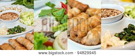 Collage Photos Of Vietnamese Food