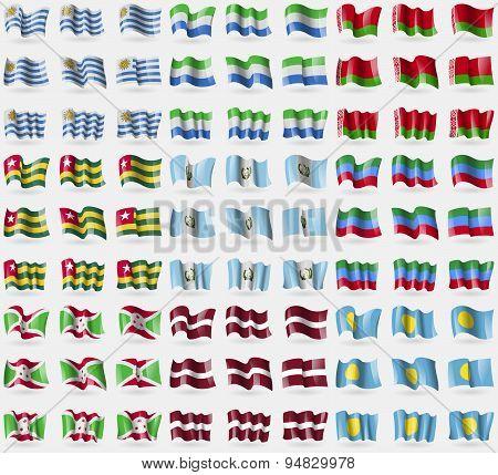 Uruguay, Sierra Leone, Belarus, Togo, Guatemala, Dagestan, Burundi, Latvia, Palau. Big Set Of 81 Fla