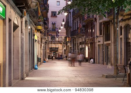 Street In Girona At Night, Spain