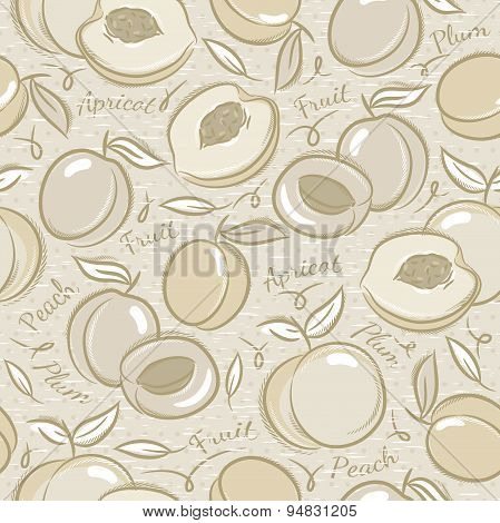 Background With Apricot, Plum And Peach