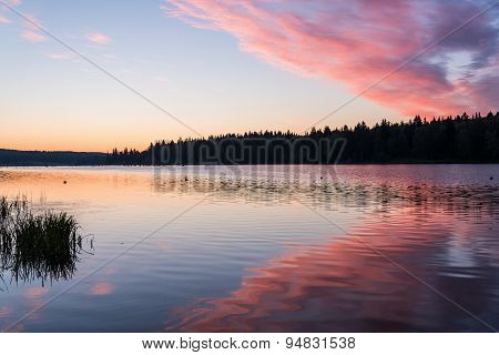 Lake Sunrise Sky Clouds