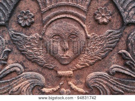 Angel carved in red sandstone