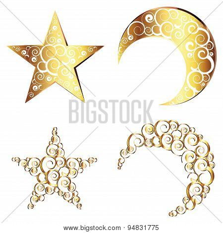 Crescent Moon And Star Symbols