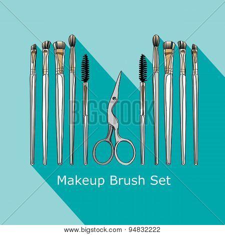 cosmetic brush and scissors