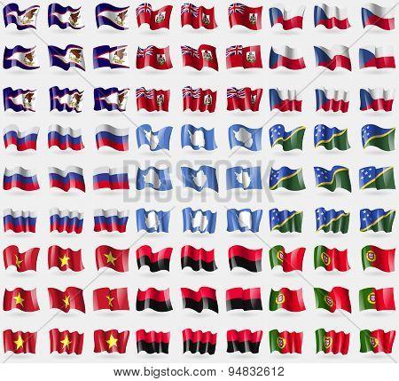 American Samoa, Bermuda, Czech Republic, Russia, Antarctica, Solomon Islands, Vietnam, Upa, Portugal