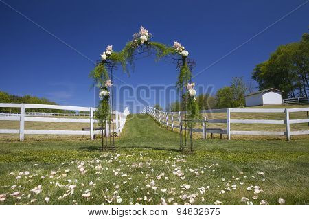 Floral Archway On Wedding Day