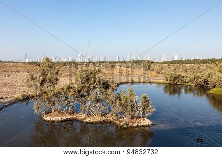 Lake And Skyline Of Dubai