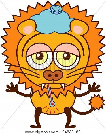Cute lion with an ice pack and a thermometer feeling sad and sick
