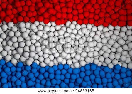 Many Small Colorful Balls That Form National Flag Of Netherlands. 3D Render Image.