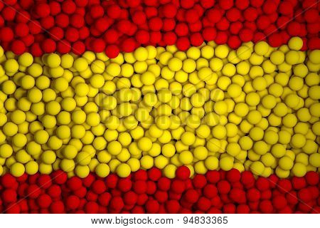 Many Small Colorful Balls That Form National Flag Of Spain. 3D Render Image.