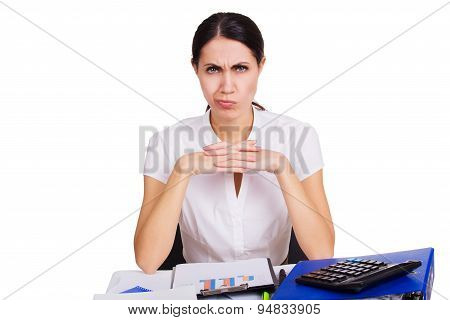 Young business woman sitting stressed in office. People overworked. Headache at work. Tired female.