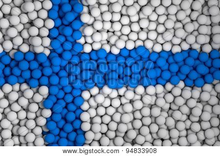 Many Small Colorful Balls That Form National Flag Of Finland. 3D Render Image.