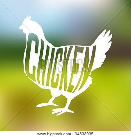 Silhouette of farm Hen black with text inside on blur background isolated
