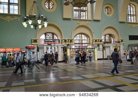 Moscow, Russia - 17.06.2015. The Interior Of  Kazansky  Railway Station. Built In 1862.