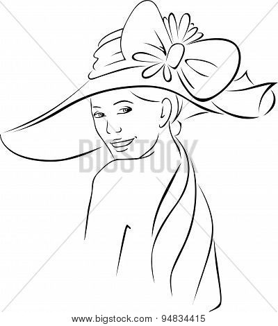 Young Woman With Hat - Black Outline Vector Illustration