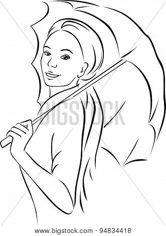 Young Woman With Parasol - Black Outline Vector Illustration