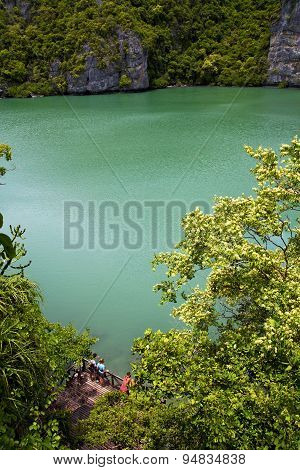 Abstract Of A Green Lagoon And Water  People