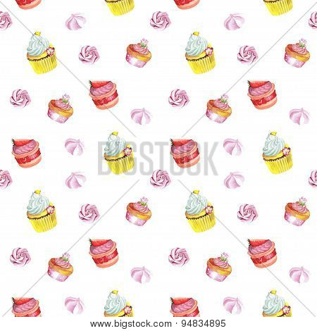 Watercolor seamless pattern with cupcakes. Hand drawn design.