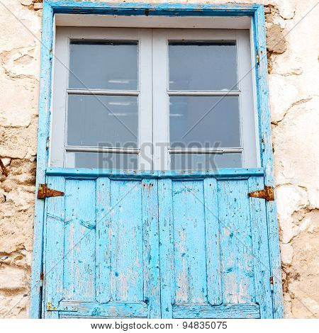 Blue Window In Morocco Africa Old Construction And Brown Wall  Construction