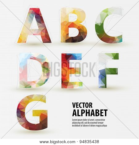 Abstract colored polygonal triangular modern alphabet design bac
