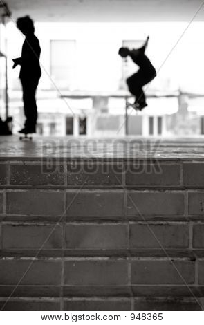 Urban Skateboarders In Black And White