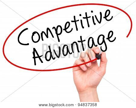 Man Hand writing Competitive Advantage with black marker on visual screen.