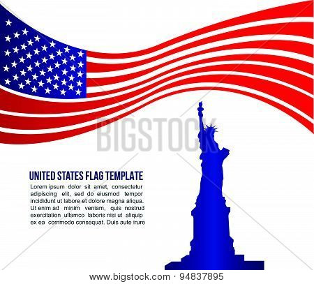 USA (united states) flag wave and Statue of Liberty