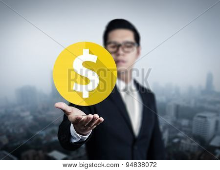 Illustration Money In Business Man Hand, New Business In The City Collection, Studio Shot