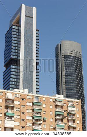 Residential Block And Modern Finance Skyscrapers In Madrid. Spain