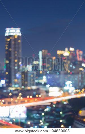 Blurred Photo bokeh of cityscape, night view