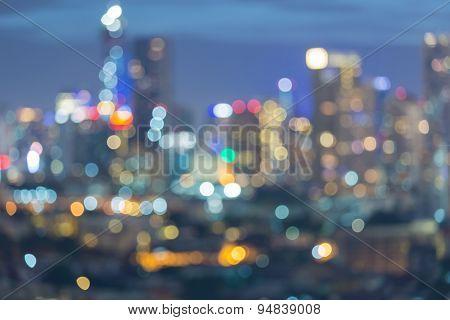 Big city light at night, abstract blur bokeh