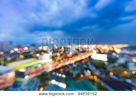 Abstract blur bokeh city highway during twilight
